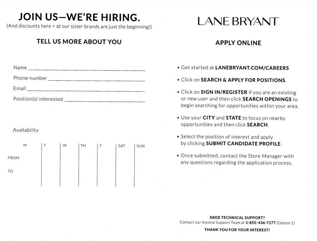 Lane Bryant is hiring